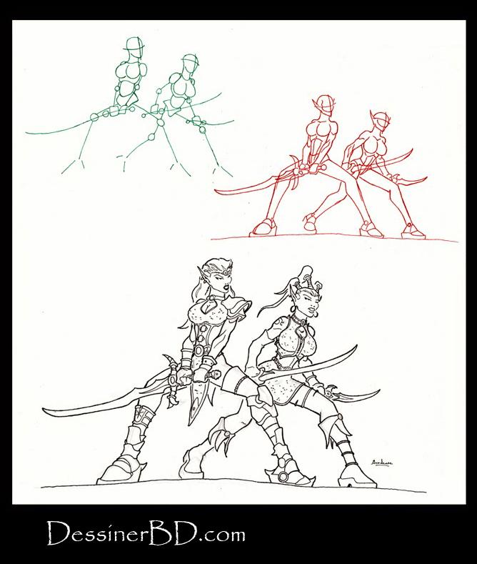 apprendre à dessiner des guerrières elfes noires