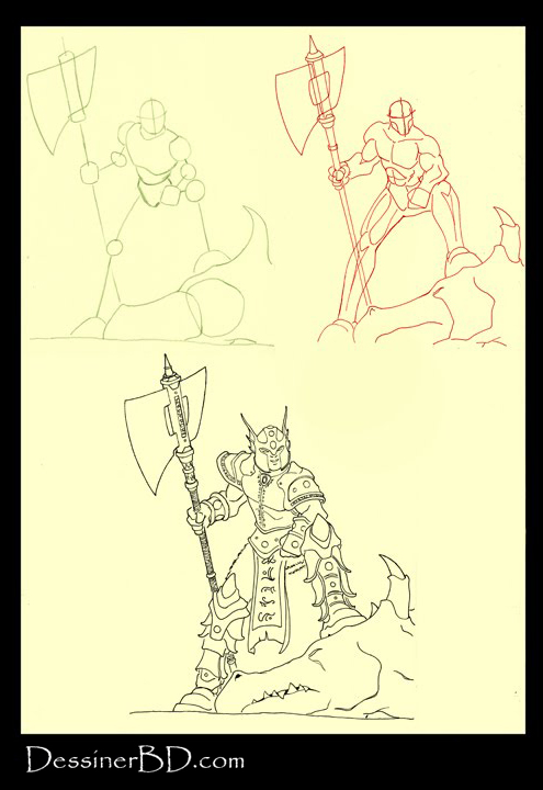 apprendre à dessiner un chasseur de dragon