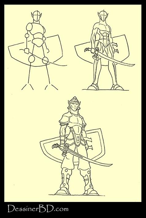 apprendre à dessiner un soldat guerrier elfe