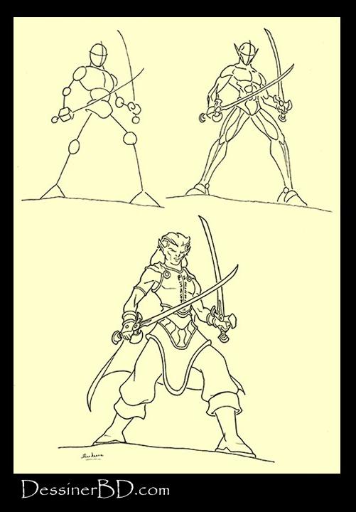 apprendre à dessiner elfe rôdeur chantelame