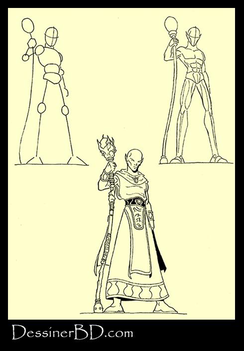 apprendre à dessiner un sorcier elfe