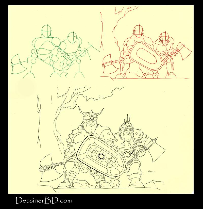 apprendre à dessiner un groupe de nains