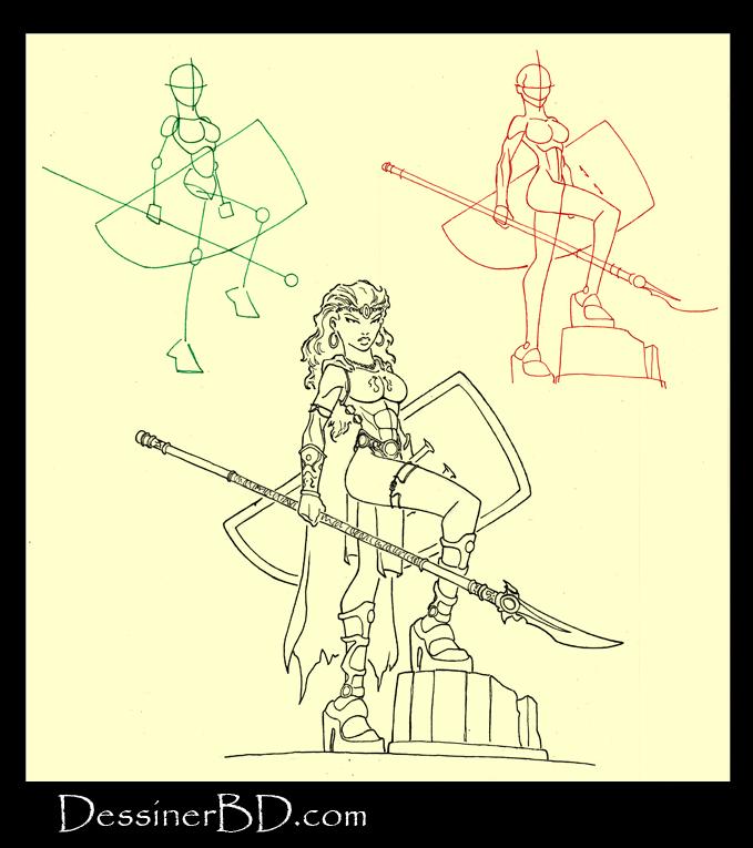 apprendre à dessiner une guerrière lancière amazone
