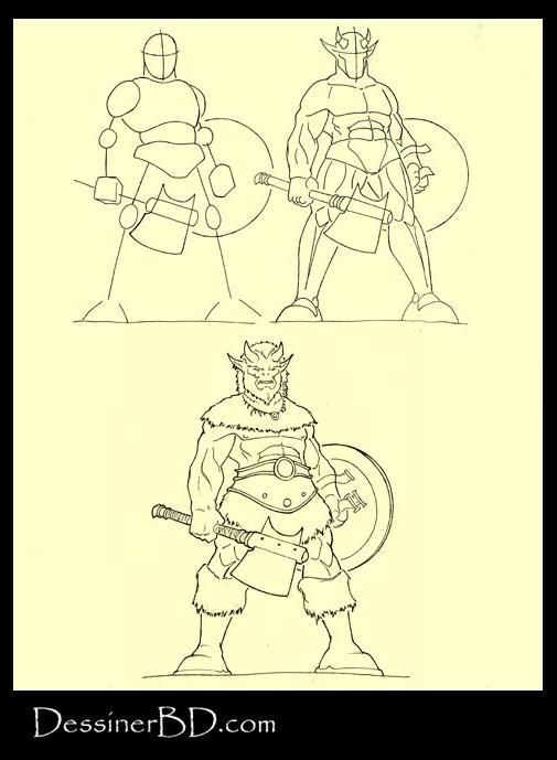apprendre à dessiner un troll cornu