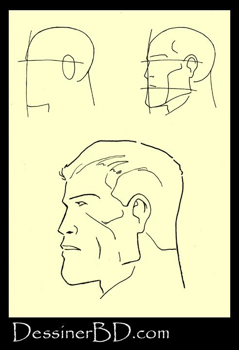 Dessiner un visage d'homme de profile