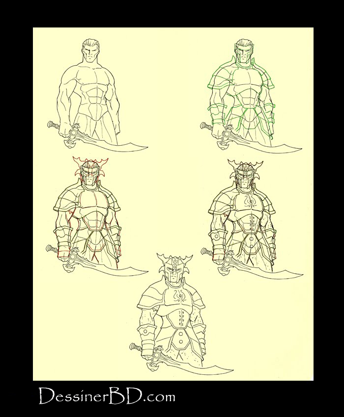 apprendre à dessiner une armure complète et haume a cornes