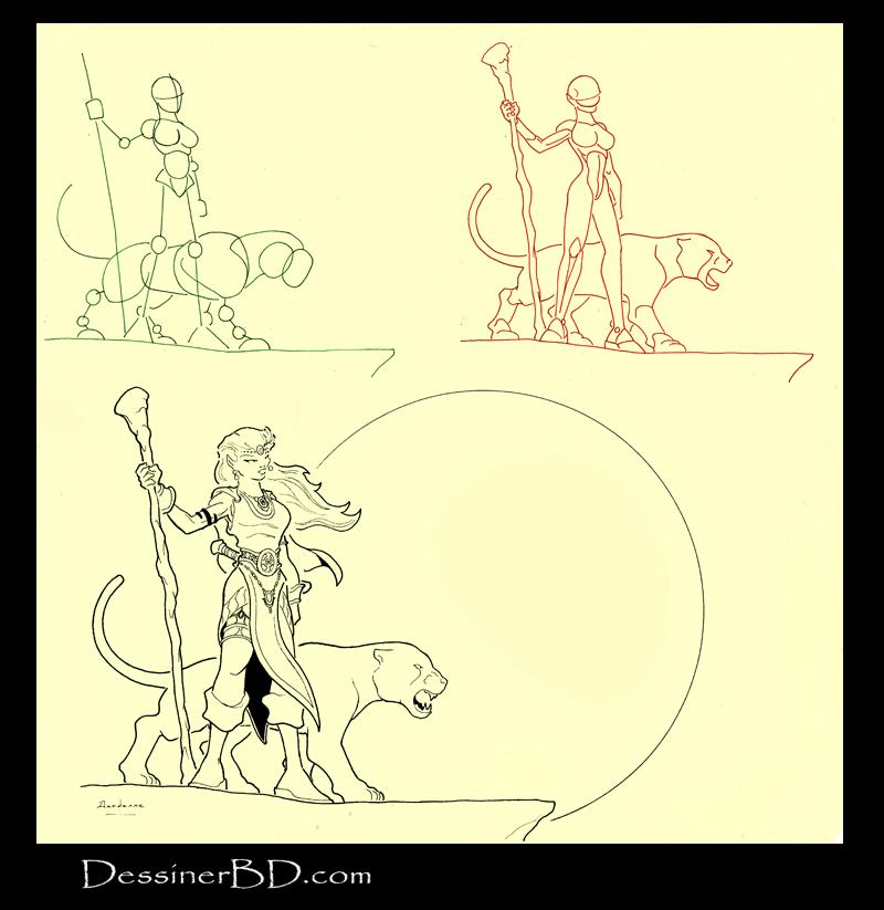 apprendre à dessiner druidesse elfe et puma