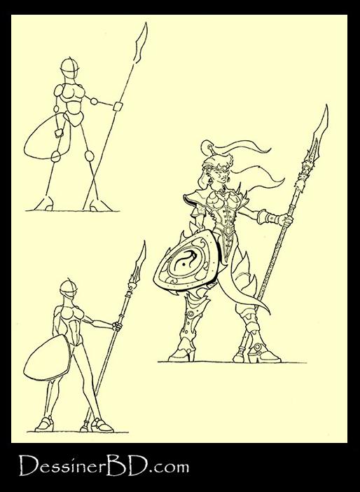 apprendre à dessiner une lancère elfe