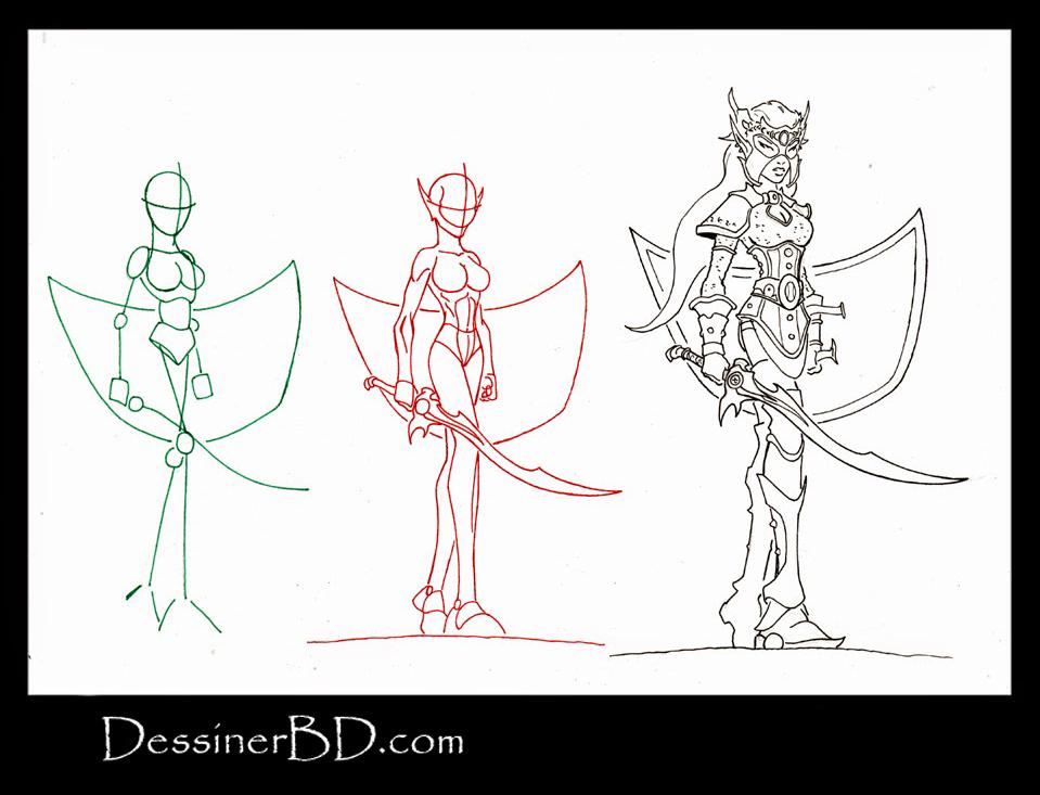 apprendre à dessiner une elfe noire guerrière