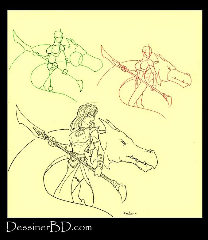 apprendre à dessiner une guerrière et dragon