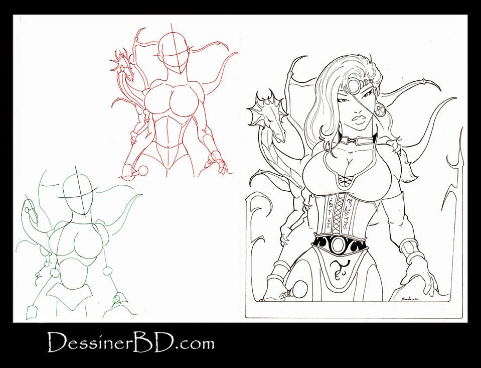 apprendre à dessiner une magicienne enchanteresse et dragon