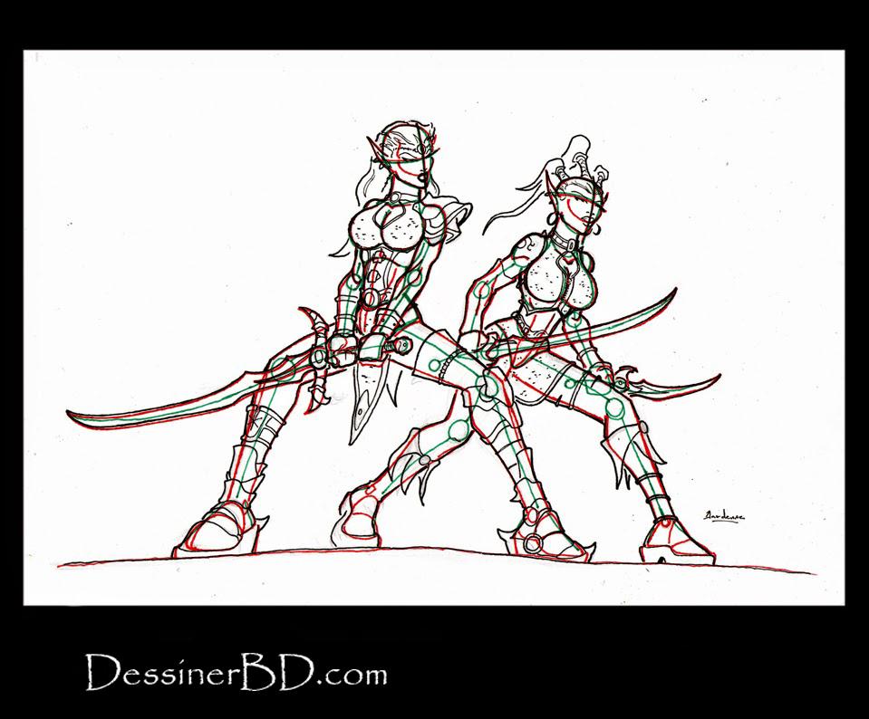 dessiner détails guerrière elfes noires