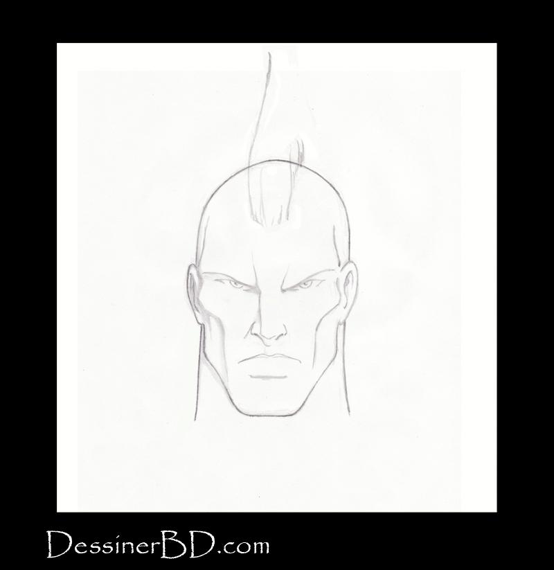 étape 3 dessiner cheveux mohawk