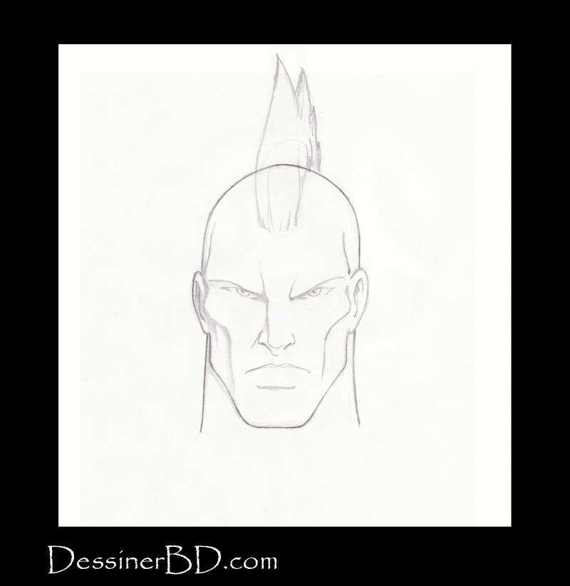 étape 4 dessiner cheveux mohawk