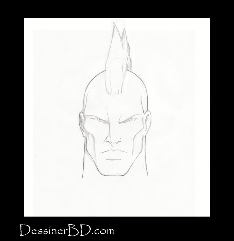 étape 5 dessiner cheveux mohawk