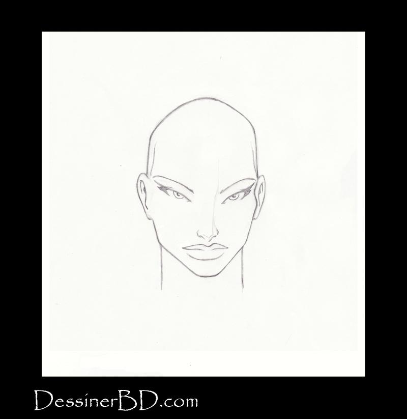 étape 1 dessiner cheveux de fille longs
