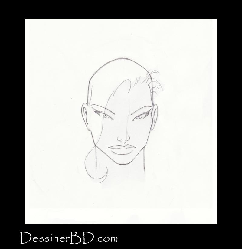 étape 2 dessiner cheveux de fille longs