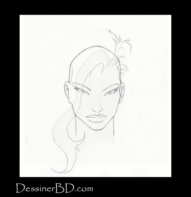 étape 3 dessiner cheveux de fille longs