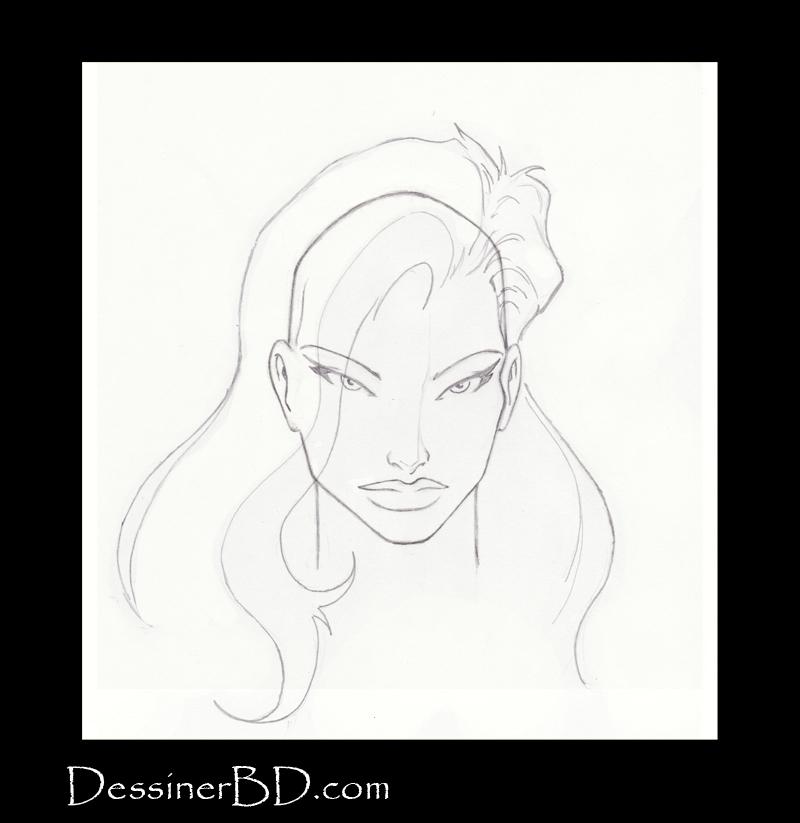 étape 4 dessiner cheveux de fille longs