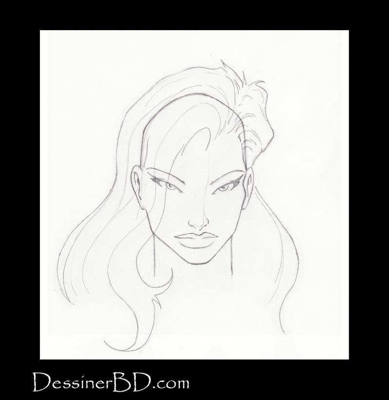 étape 5 dessiner cheveux de fille longs