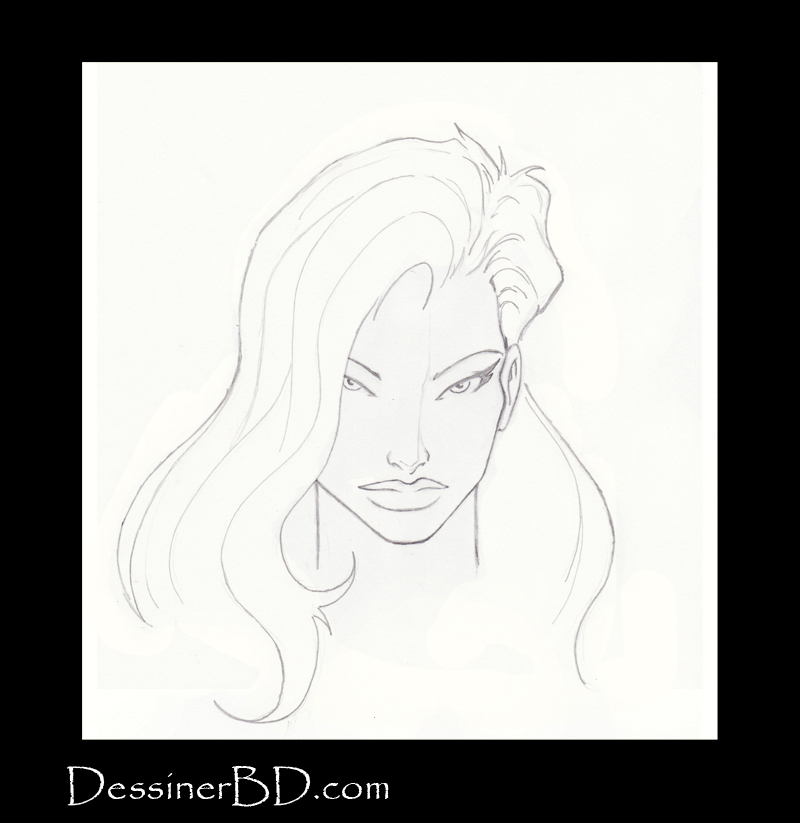 étape 6 dessiner cheveux de fille longs