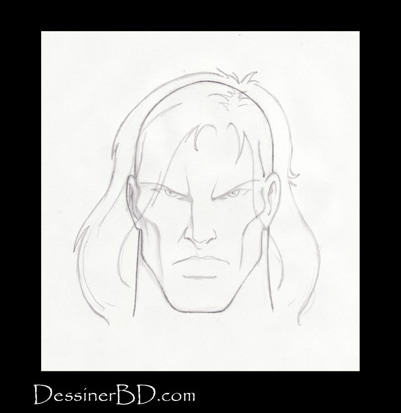 étape 4 dessiner cheveux longs