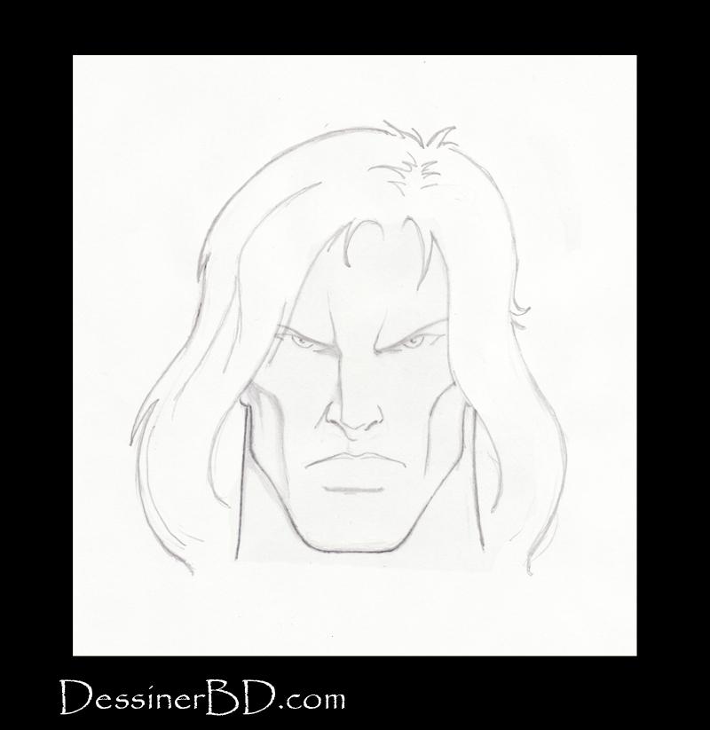 étape 5 dessiner cheveux longs