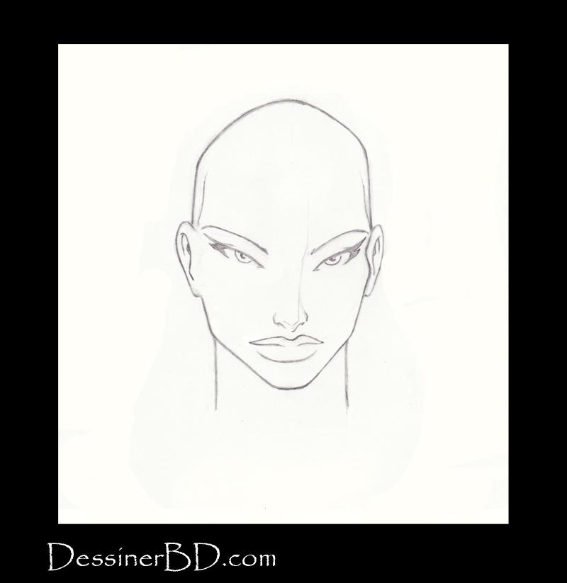 étape 1 dessiner cheveux lisses longs