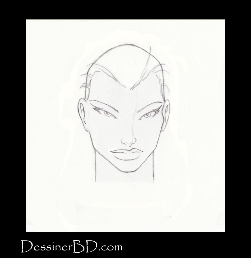 étape 2 dessiner cheveux lisses longs