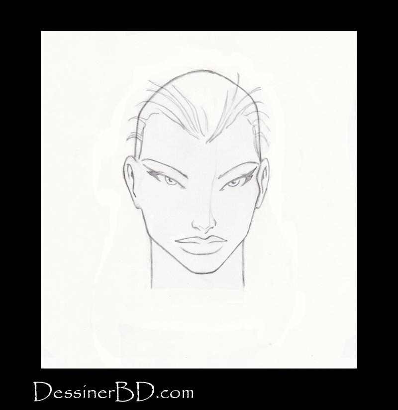 étape 3 dessiner cheveux lisses longs