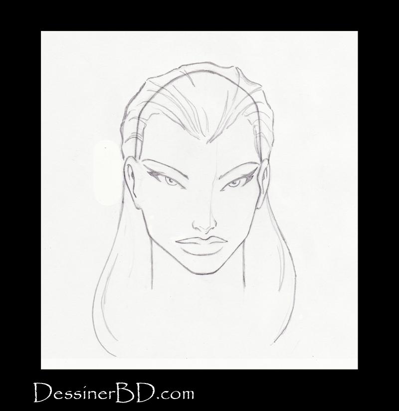 étape 4 dessiner cheveux lisses longs