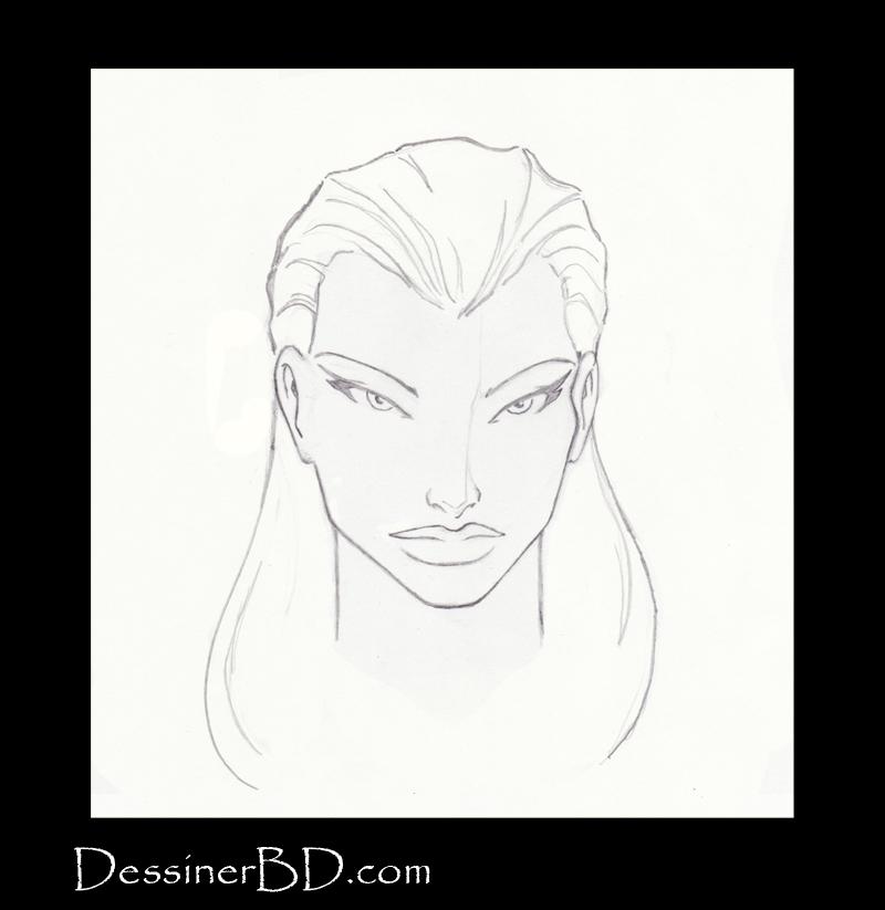 étape 5 dessiner cheveux lisses longs