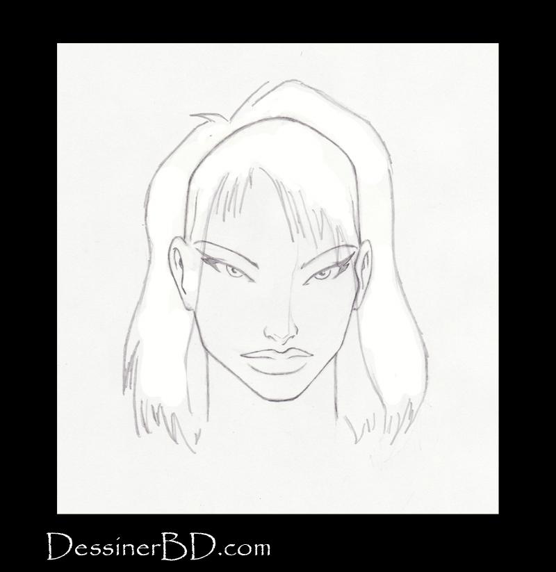 étape 3 dessiner cheveux mi longs