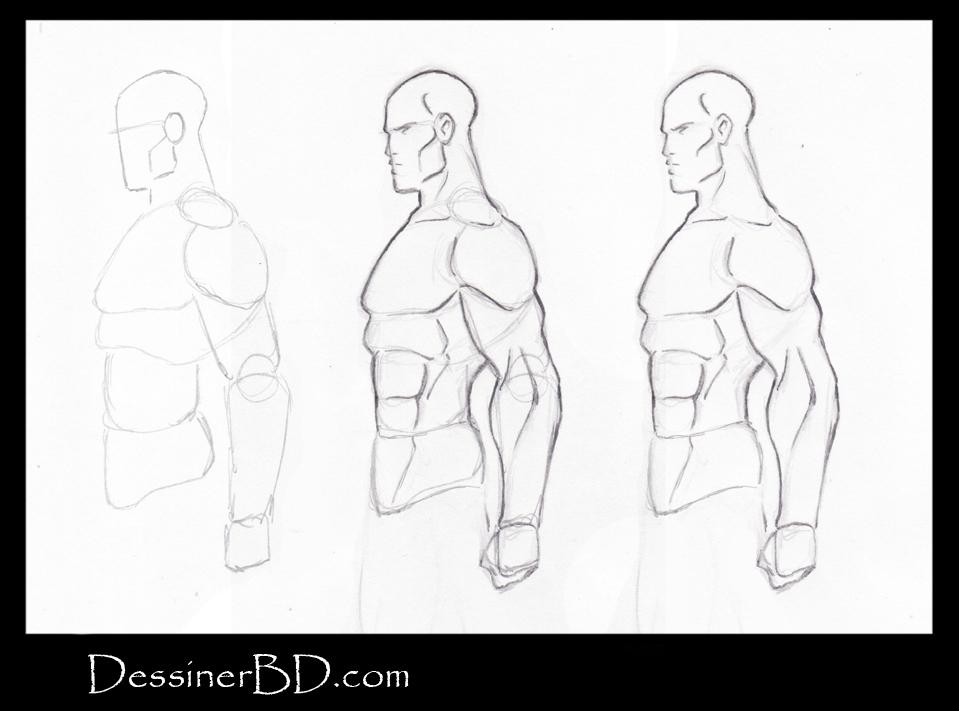 comment dessiner corps humain de profile