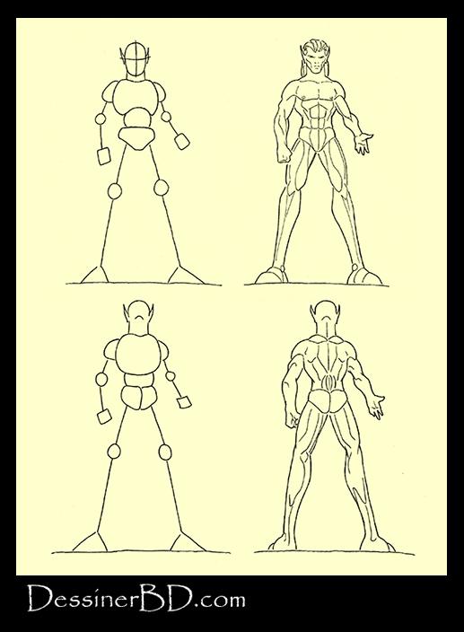 apprendre à dessiner muscles anatomie elfe face et dos