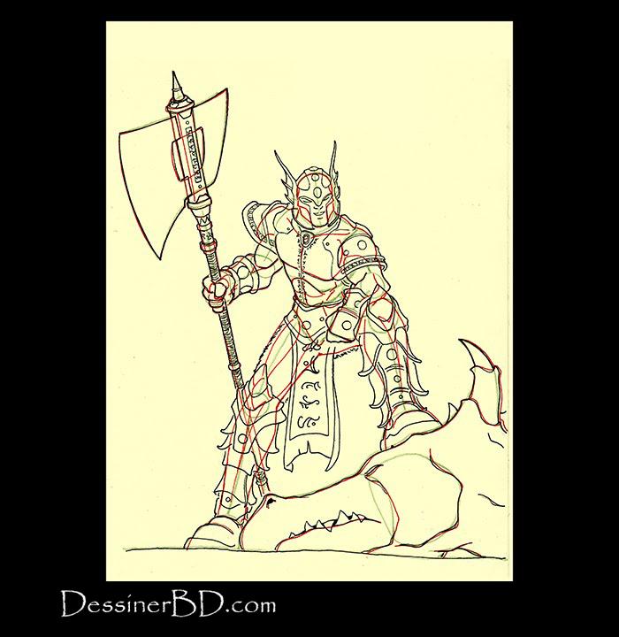 chasseur de dragon dessiner détails armure et hache