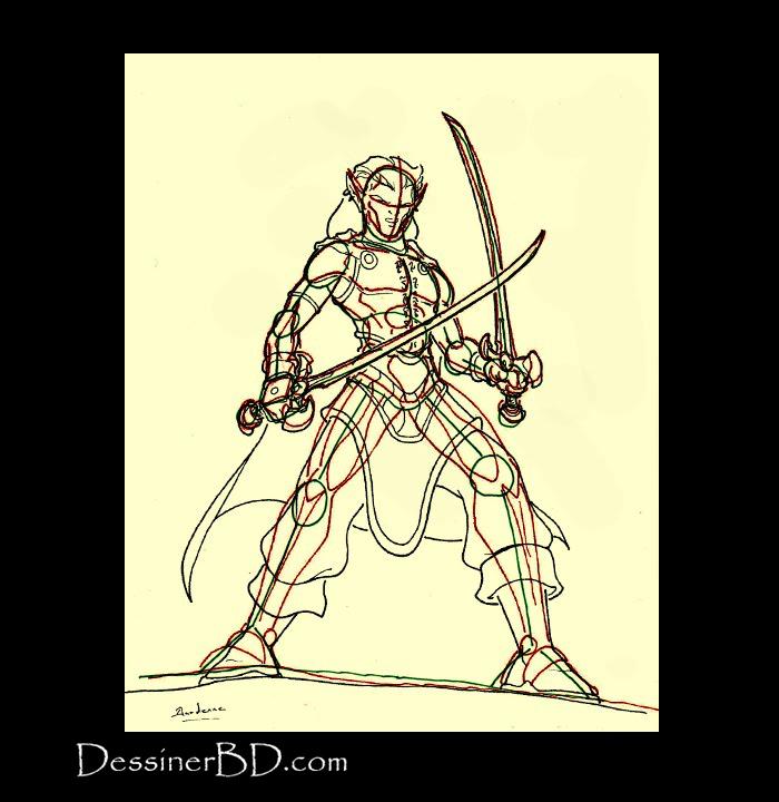 dessiner plastron détails elfe rôdeur