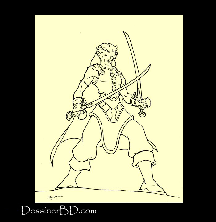 dessin final rôdeur elfe chantelame