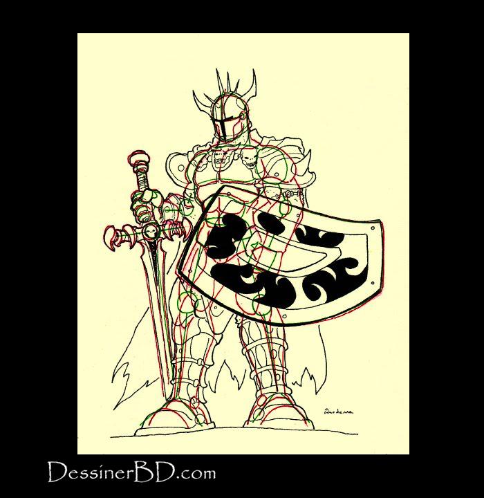 détails armure dessiner guerrier du chaos