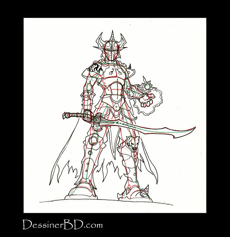 détails dessiner guerrier mage elfe noir