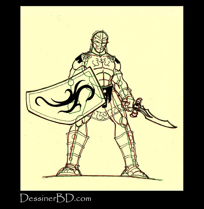 détails du dessin guerrier sparte