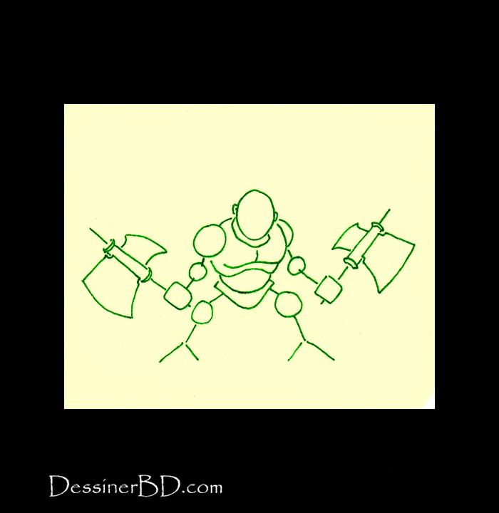 dessiner formes guides nain berserker