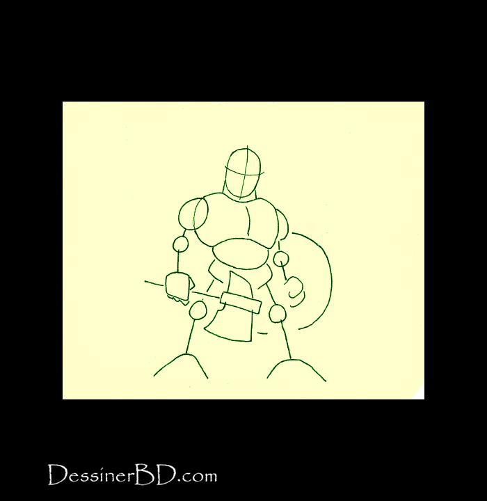 dessiner charpente nain guerrier