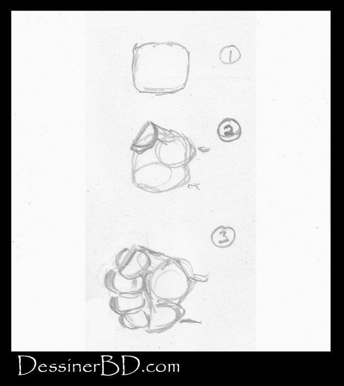 comment dessiner un poing