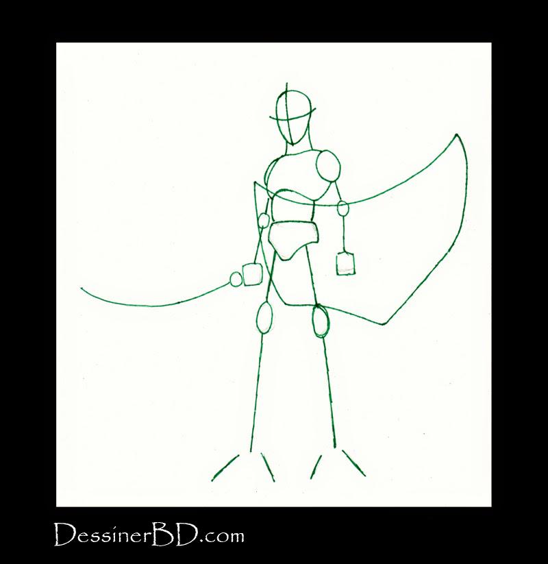 charpente dessiner soldat elfe noir