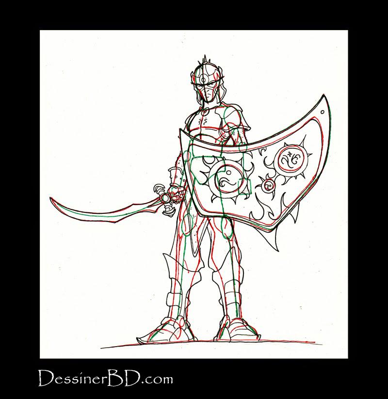 détails dessiner soldat elfe noir