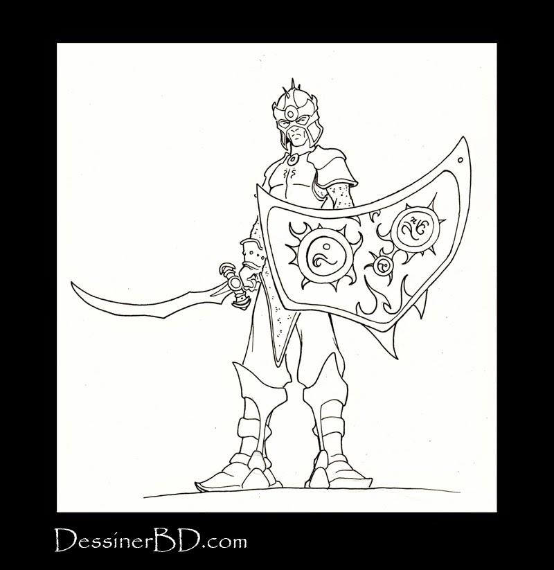 dessin final soldat elfe noir