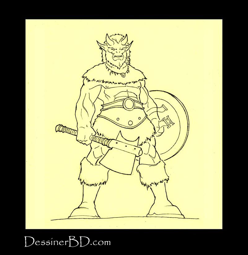 dessin final troll cornu fantasy