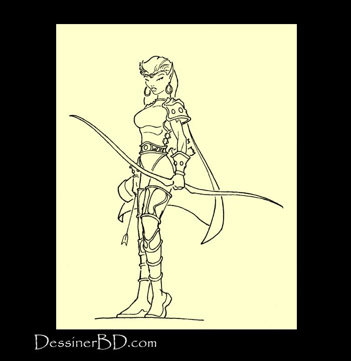 dessin final archère elfe
