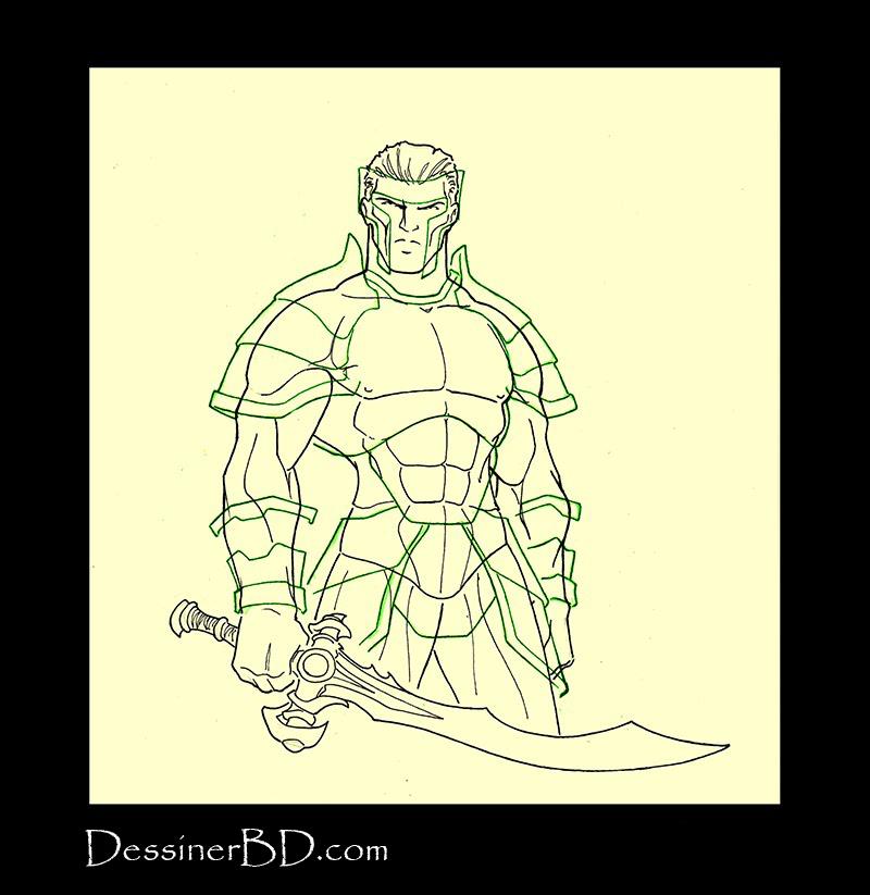 Armure complète étape 2 crayonné